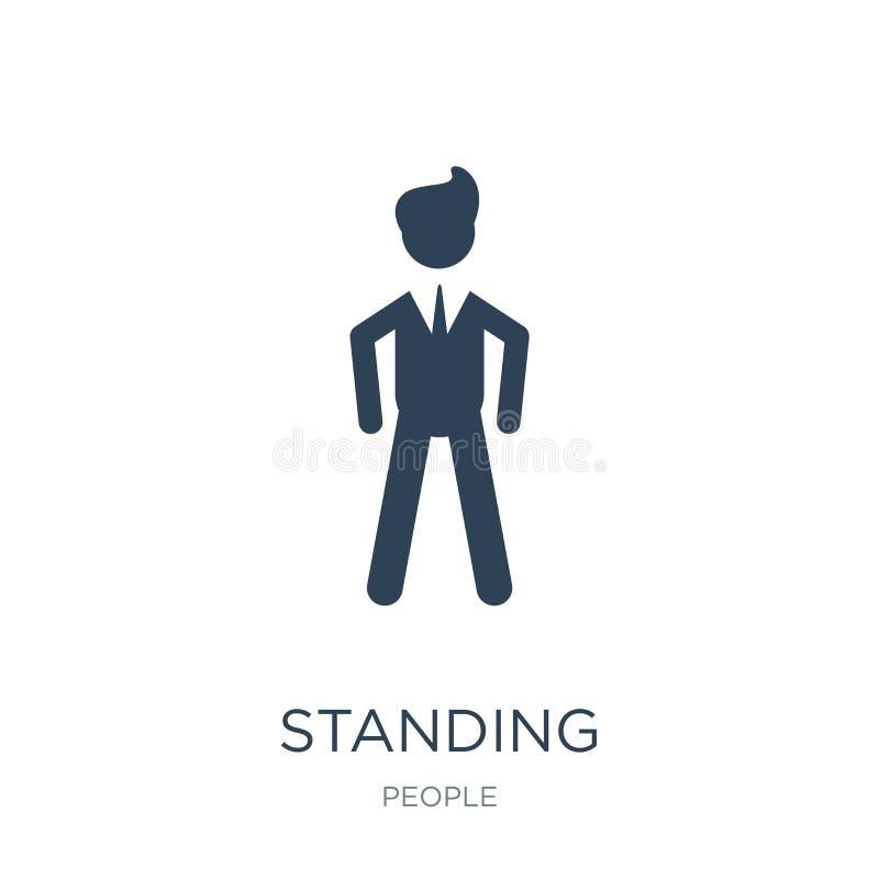 стоя прифронтовой значок человека в ультрамодном стиле дизайна стоя прифронтовой значок человека изолированный на белой предпосыл иллюстрация вектора