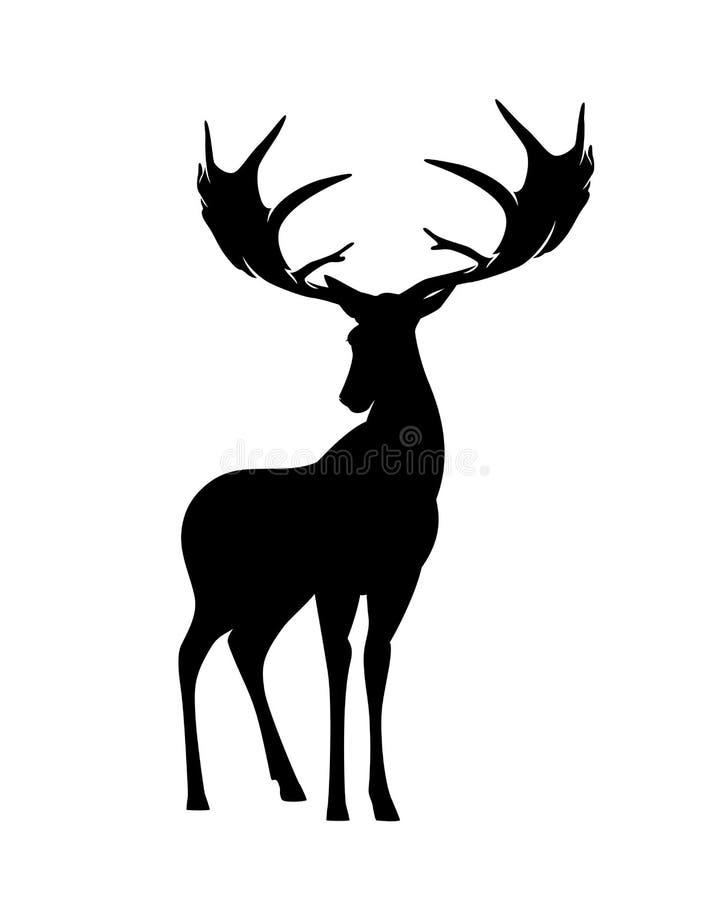 Стоя силуэт вектора черноты оленей иллюстрация штока