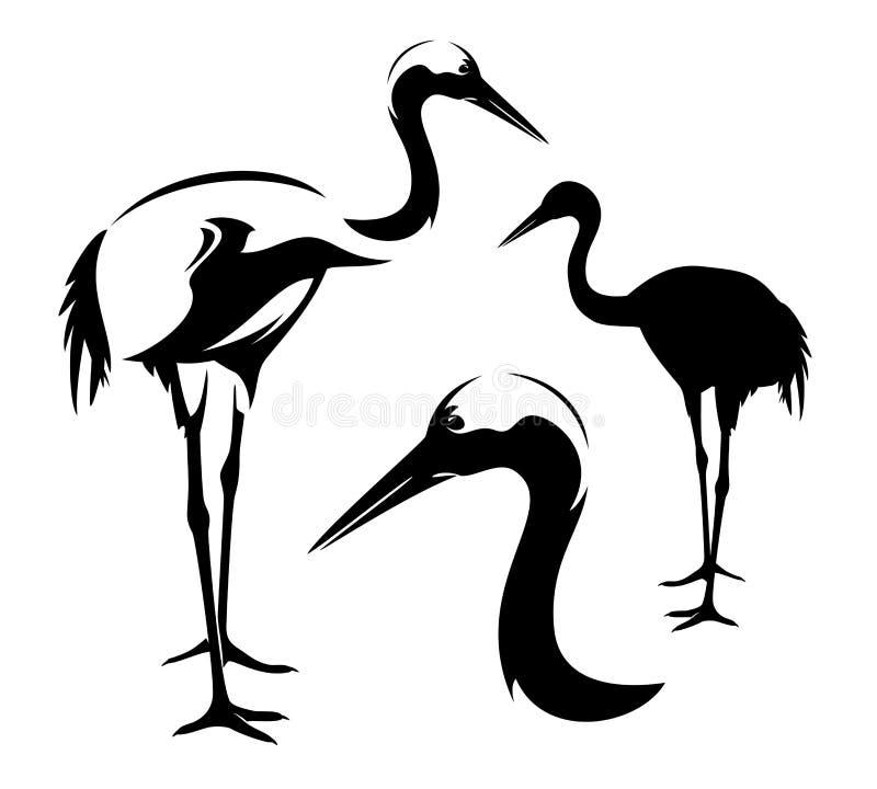 Стоя японский дизайн вектора черноты птицы крана иллюстрация вектора