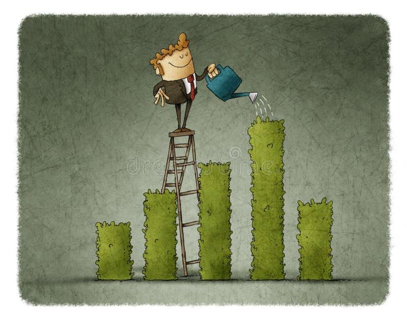 Столбиковая диаграмма бизнесмена моча иллюстрация штока