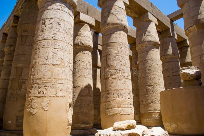 Столбцы большого Hypostyle Hall, виска Луксора Karnak, Египта Африки стоковое фото rf