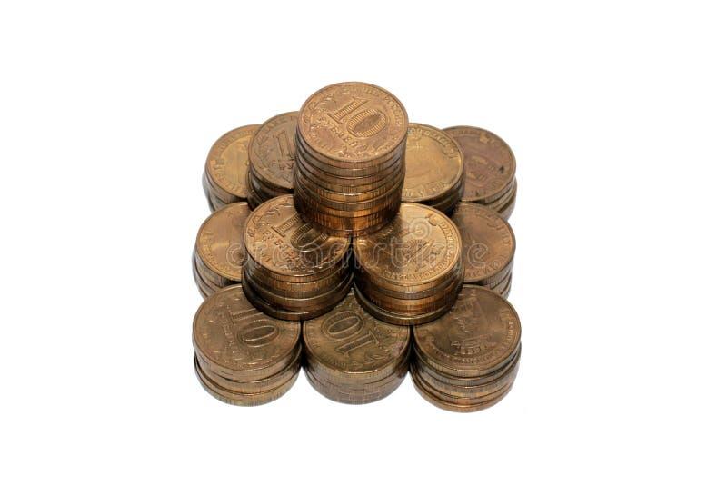 Столбцы монеток русского рубля стоковые изображения