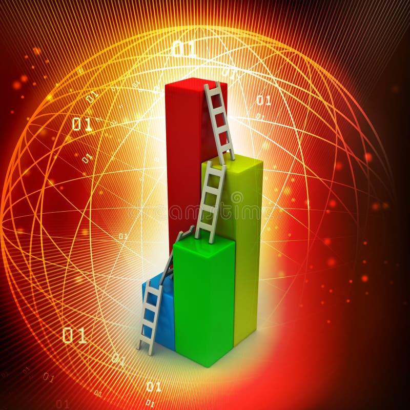 Столбчатая диаграмма с лестницей иллюстрация вектора