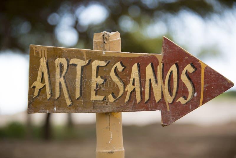 Столб знака искусства и ремесла, Перу стоковые фотографии rf