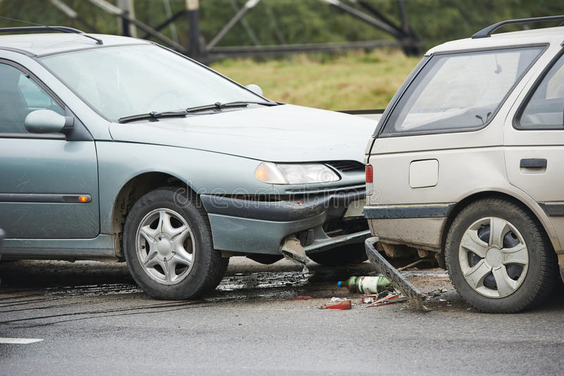 Столкновение автокатастрофы стоковое изображение