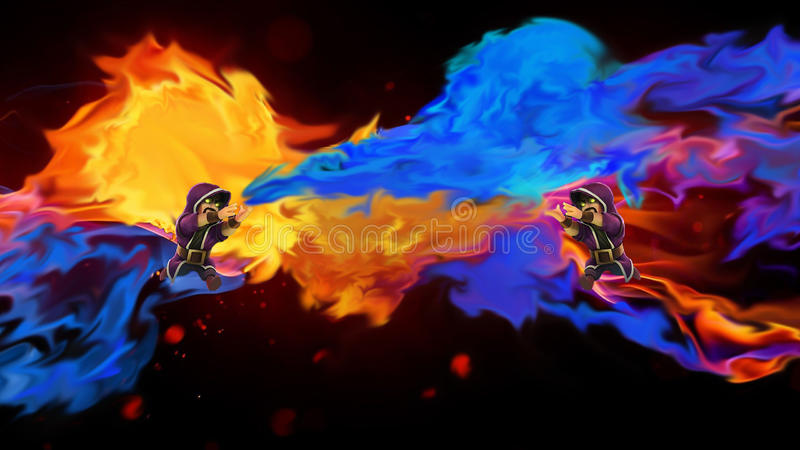 Столкновение художественного произведения волшебника кланов стоковое изображение rf