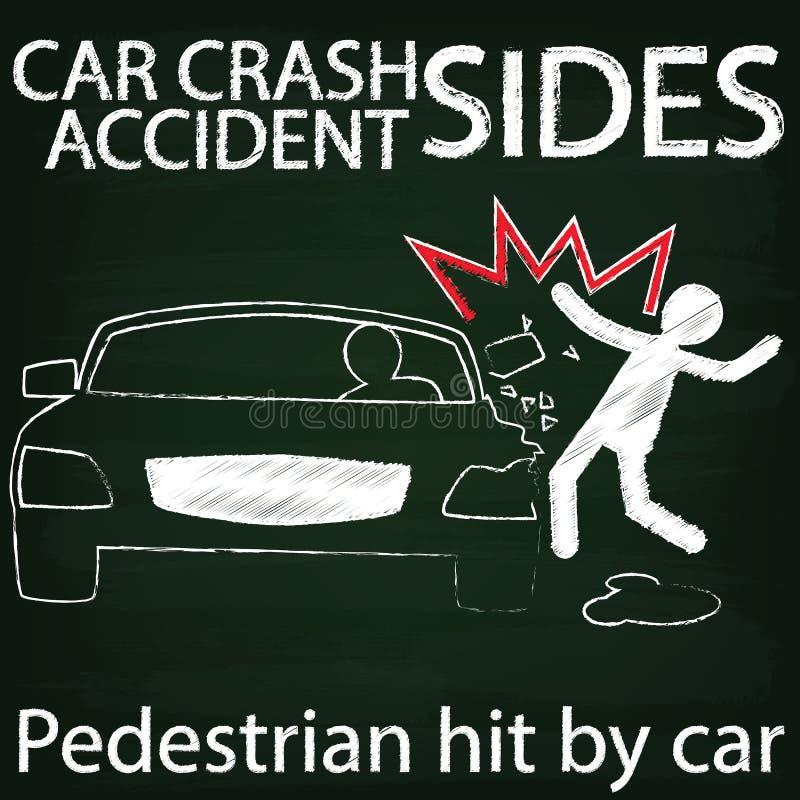 Столкновение человека и автокатастрофы бортовое мелом иллюстрация вектора