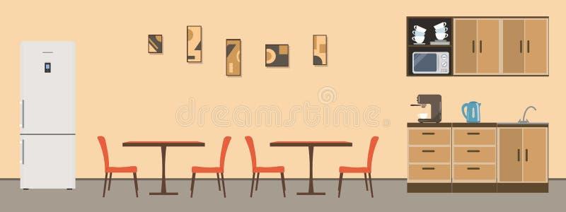 Столовая в офисе иллюстрация штока