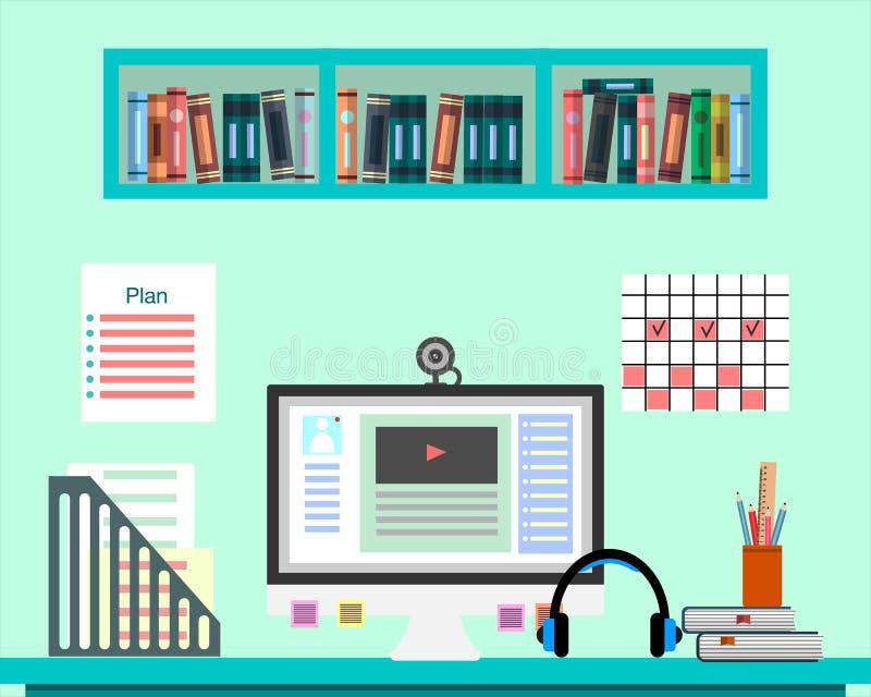 Стол с компьютером, документами и оборудованием Рабочее место для дела, образование, онлайн преподавательство Плоский дизайн бесплатная иллюстрация
