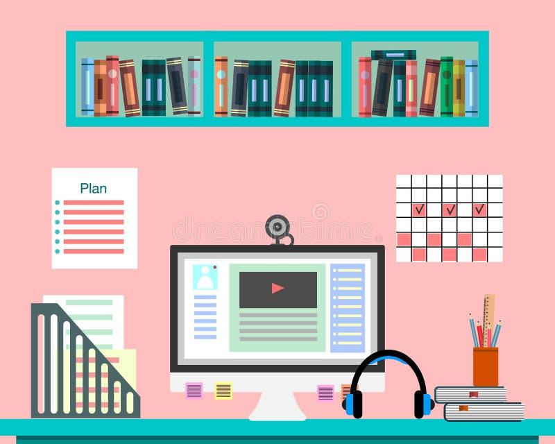 Стол с компьютером, документами и оборудованием Рабочее место для дела, образование, онлайн преподавательство Плоская иллюстрация иллюстрация вектора