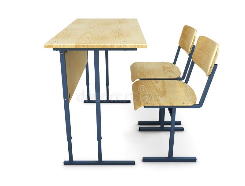 Стол школы с 2 стульями взгляд со стороны иллюстрация вектора