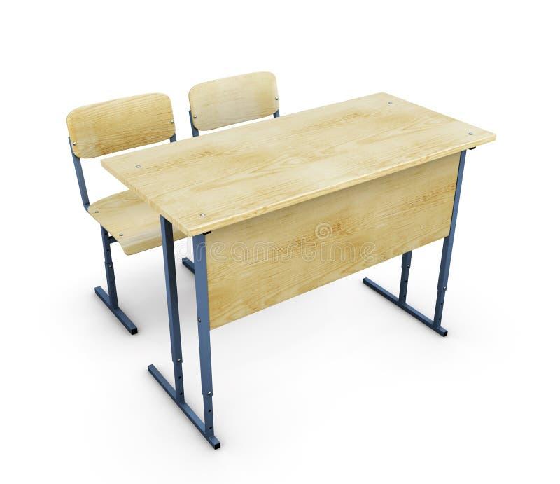 Стол школы с 2 стульями бесплатная иллюстрация