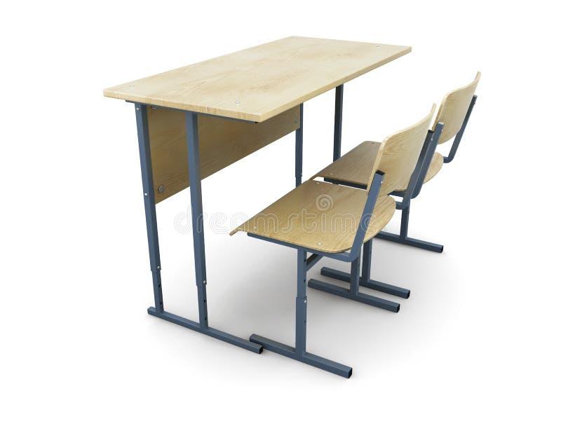 Столы и стулья школы иллюстрация вектора