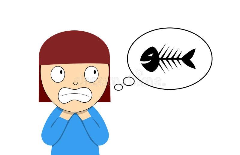 Страдание девушки от рыб косточки вставленных в ее горле бесплатная иллюстрация