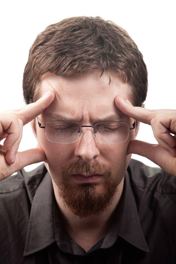 страдание мигрени человека головной боли стоковое изображение