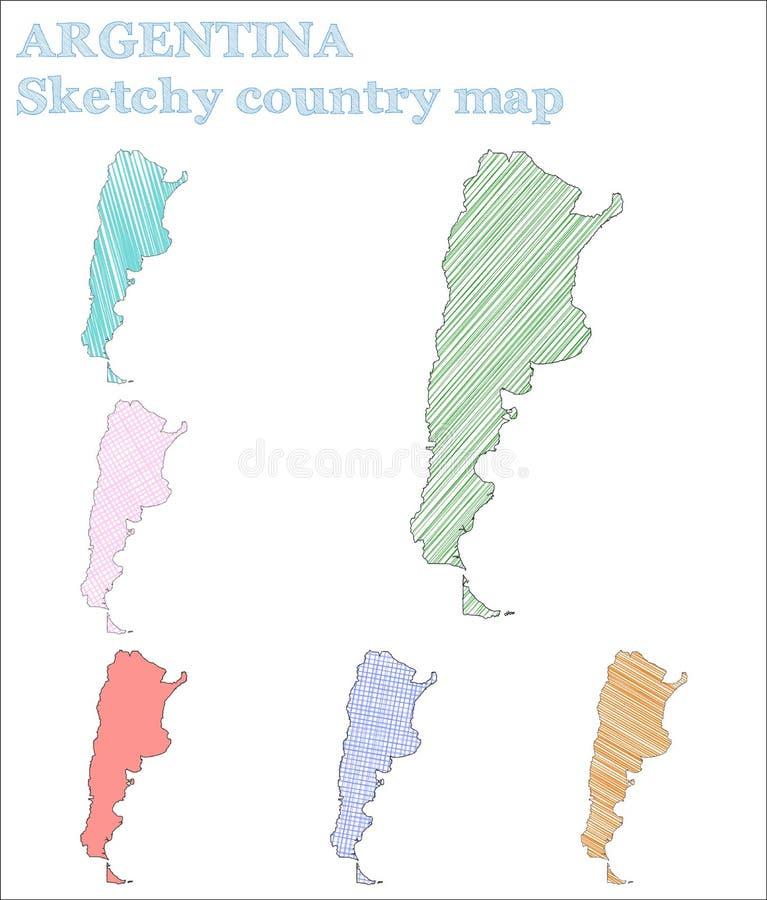 Страна Аргентины схематичная иллюстрация вектора