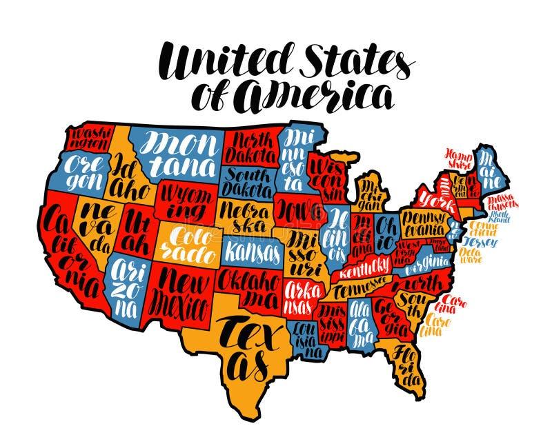 Страна карты США, Соединенные Штаты Америки Иллюстрация вектора литерности иллюстрация вектора