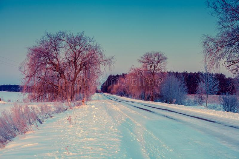 страна покрыла зиму снежка дороги заморозка стоковая фотография