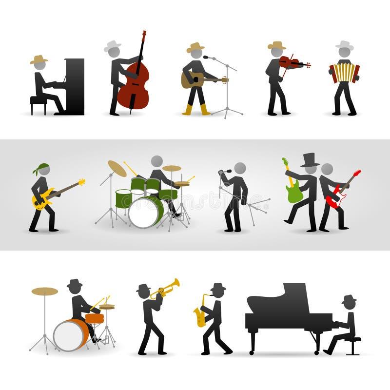 Страна, утес и джаз-бэнд иллюстрация вектора
