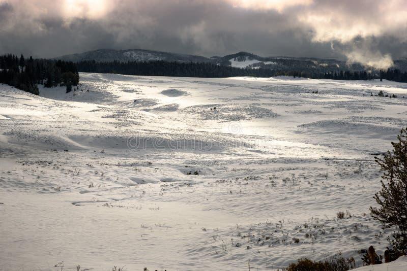 Страна чудес зимы, истинный ландшафт рождества на ранчо Вайоминга во время захода солнца стоковая фотография rf