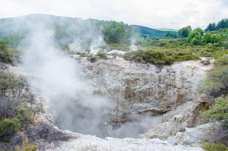 Страна чудес восходящего потока теплого воздуха Wai-O-Tapu стоковые изображения rf
