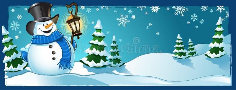 Место зимы снеговика иллюстрация вектора