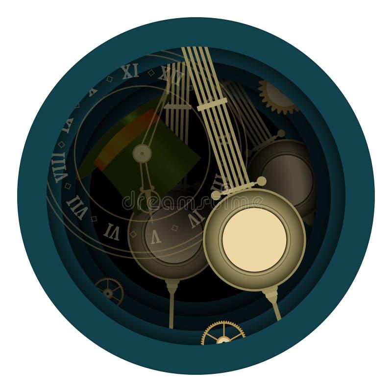страна чудес alice Сумашедшее чаепитие Время, Hatter, часы 5 также вектор иллюстрации притяжки corel иллюстрация штока