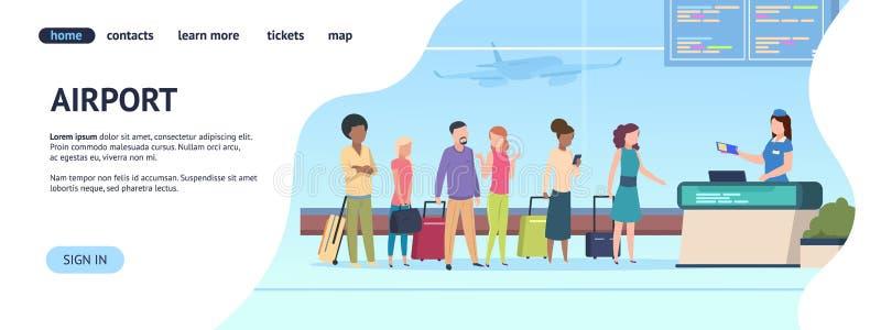 Страница аэропорта приземляясь Ворота прибытия отклонения очереди пассажирского терминала, авиакомпании проверяют восхождение на  бесплатная иллюстрация