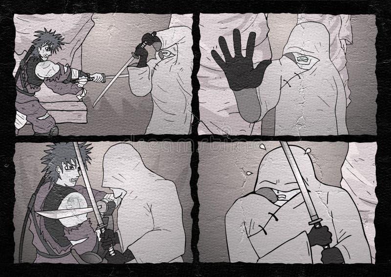 Страница бойца искусства шуточная иллюстрация вектора