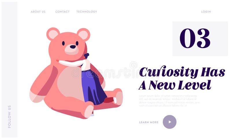 Страница вебсайта игрушек младенца приземляясь Плюшевый мишка плюша зрелого объятия женщины огромная розовая играя с игрушками де иллюстрация вектора