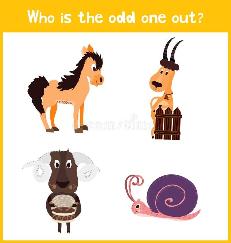 Страница головоломки игры шаржа детей красочная воспитательная для книг детей и кассеты на теме получают дополнительное животное  бесплатная иллюстрация