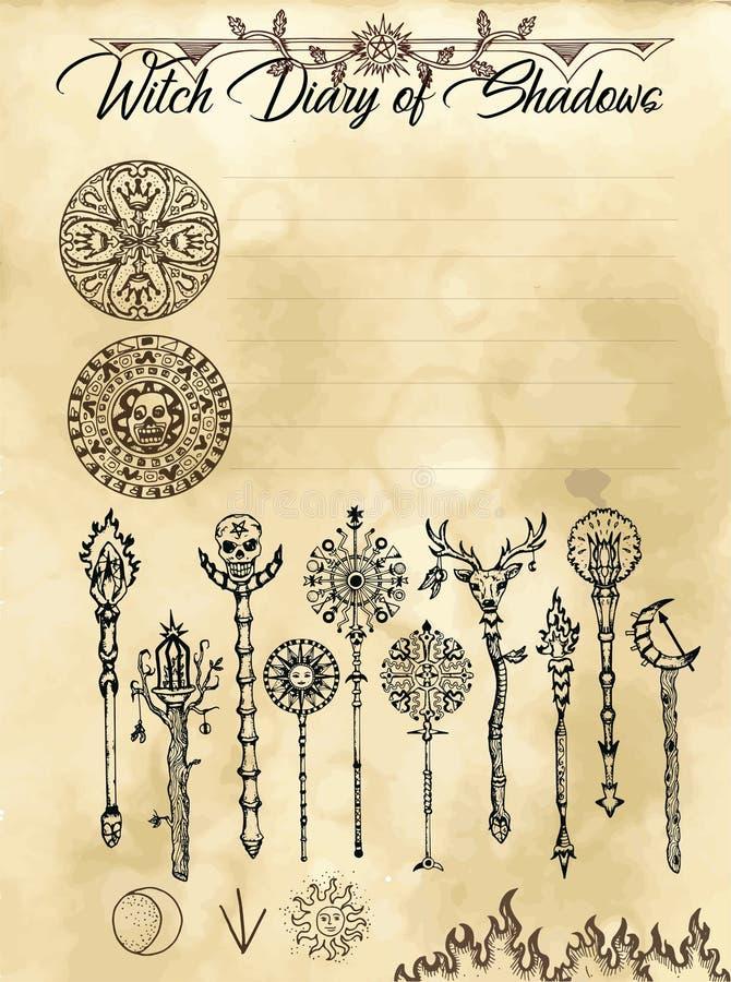 Страница 23 дневника ведьмы 31 иллюстрация вектора