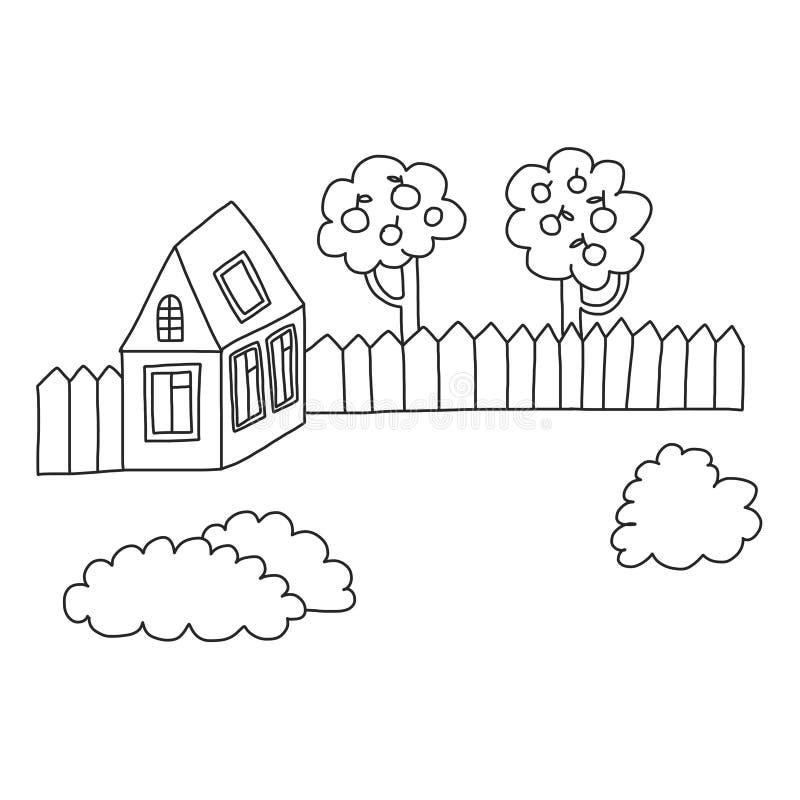 Страница дома вектора крася, книга Дети рисуя стиль иллюстрация штока