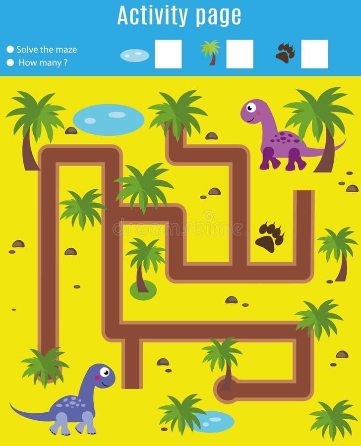 Страница деятельности для детей Воспитательная игра Лабиринт и игра подсчитывать Встреча динозавров помощи Потеха для детей лет p иллюстрация вектора