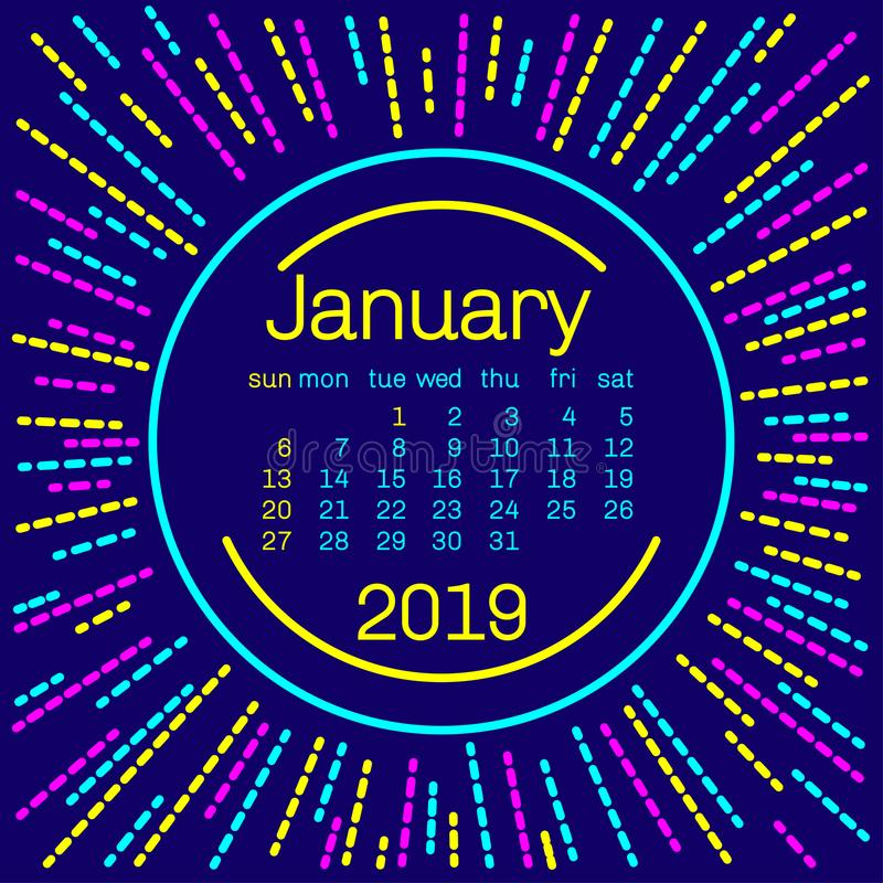 2019 Страница календаря в январе в плакате стиля Мемфиса для дизайна оформления концепции, плоского цвета Старты недели на воскре бесплатная иллюстрация