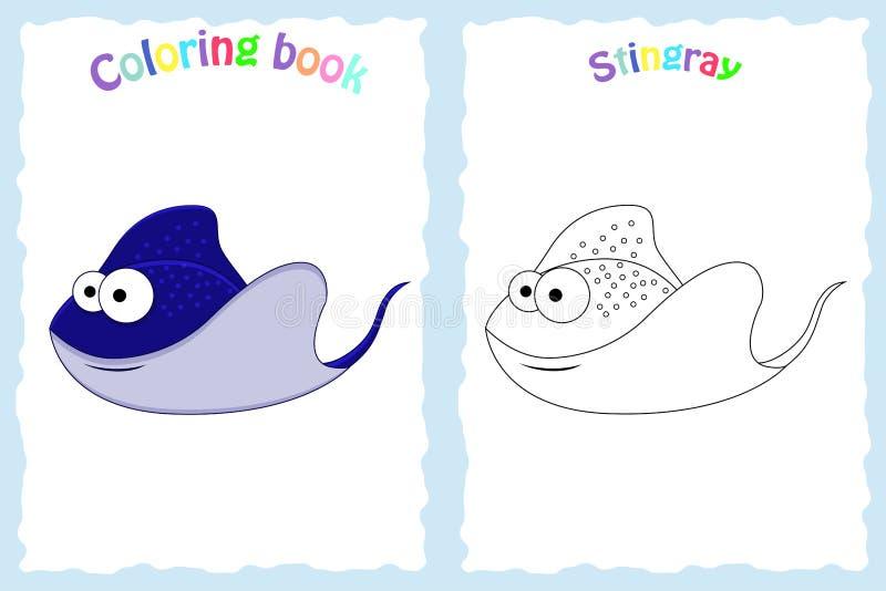 Страница книжка-раскраски для детей дошкольного возраста с красочным хвостоколовым бесплатная иллюстрация