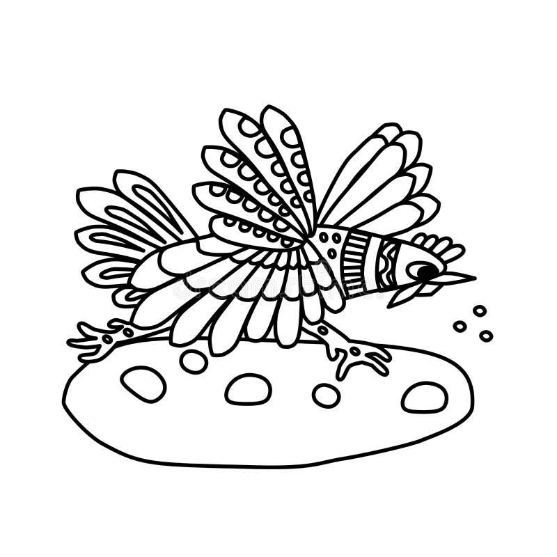 Страница книжка-раскраски для детей Петух птицы бежит для зерен Творческая задача для ребенка Белая иллюстрация t бесплатная иллюстрация
