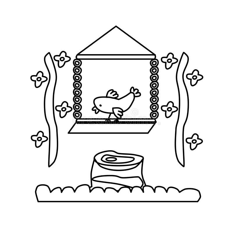Страница книжка-раскраски для детей Птица на качании Цветки и пень Творческая задача для ребенка Белая иллюстрация, EPS доступный бесплатная иллюстрация