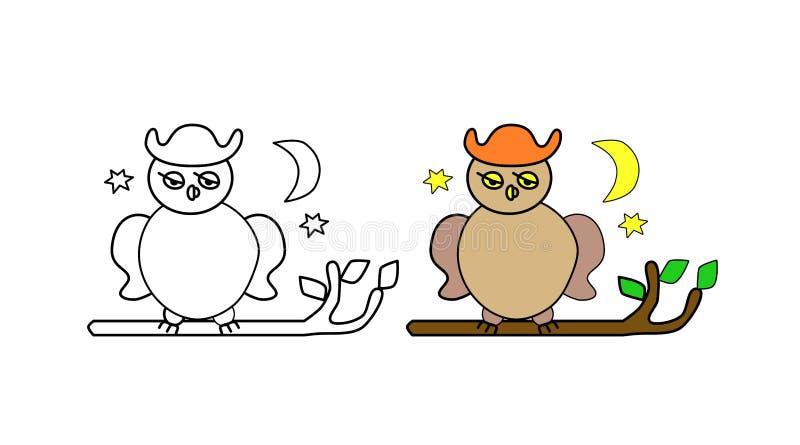 Страница книжка-раскраски для детей Сыч на ветви дерева Луна и звезды Творческая задача для ребенка Белая иллюстрация t иллюстрация вектора