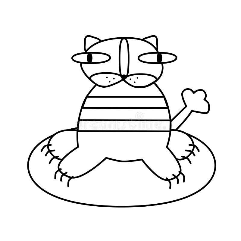 Страница книжка-раскраски для детей Striped тигр сидит Творческая задача для ребенка Белая иллюстрация t иллюстрация штока