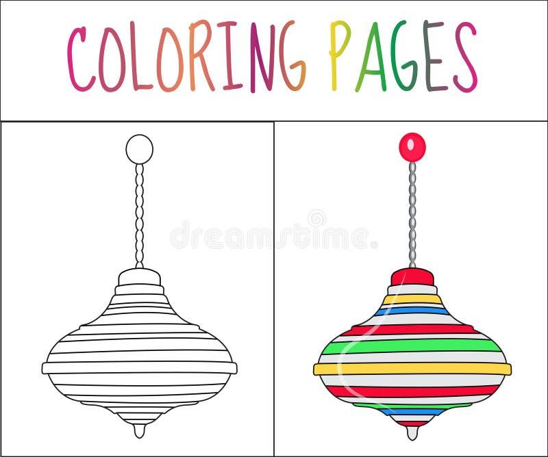 Страница книжка-раскраски Игрушка Whirligig Версия эскиза и цвета расцветка для детей также вектор иллюстрации притяжки corel иллюстрация вектора