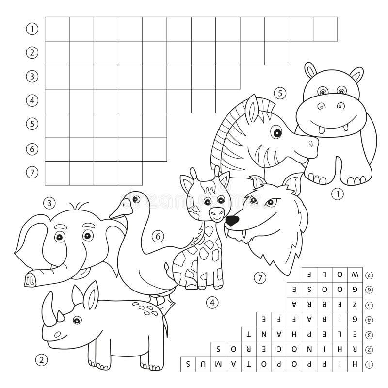 Страница книжка-раскраски кроссворда, игра образования для детей о животных иллюстрация штока