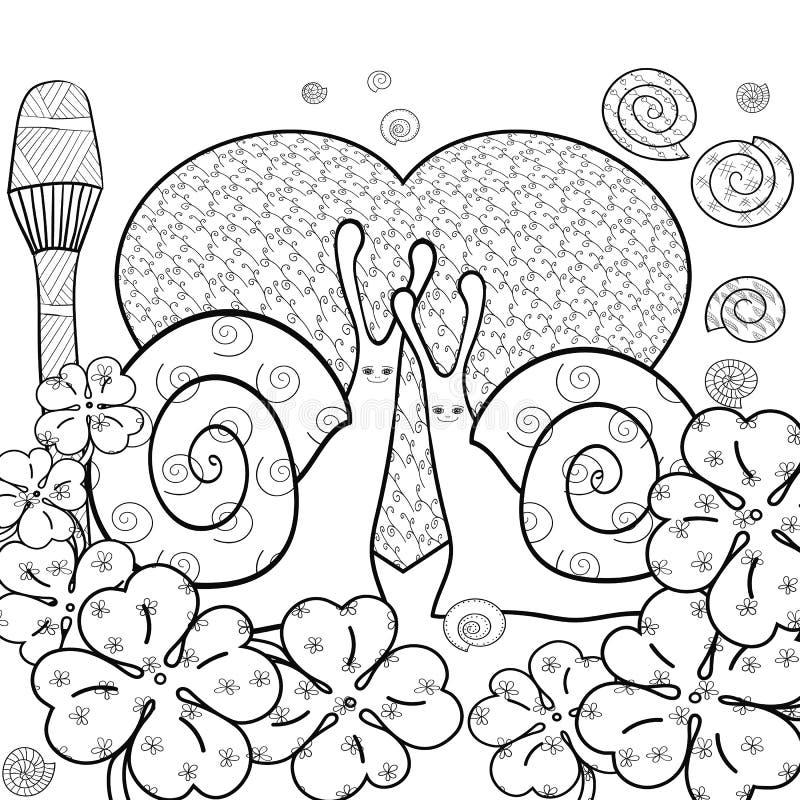 Страница книжка-раскраски милых улиток взрослая также вектор иллюстрации притяжки corel бесплатная иллюстрация