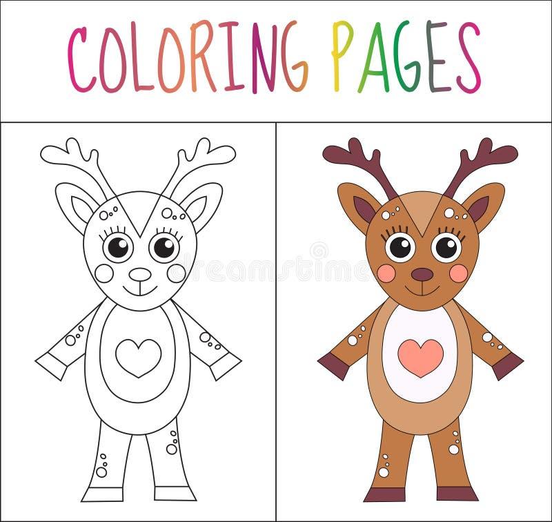 Страница книжка-раскраски Олени Версия эскиза и цвета расцветка для детей также вектор иллюстрации притяжки corel иллюстрация штока