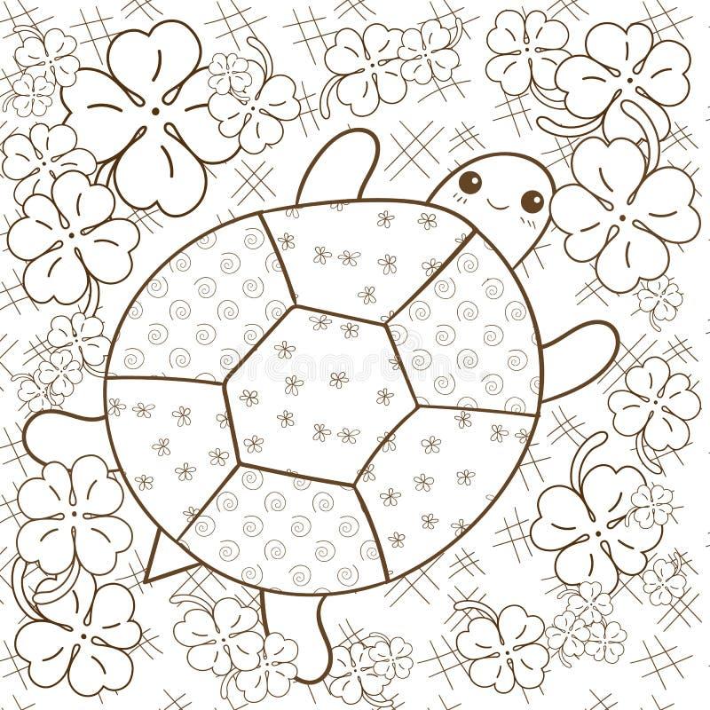 Страница книжка-раскраски рая черепахи взрослая Милая черепаха в саде клевера Иллюстрация вектора плана Брайна бесплатная иллюстрация