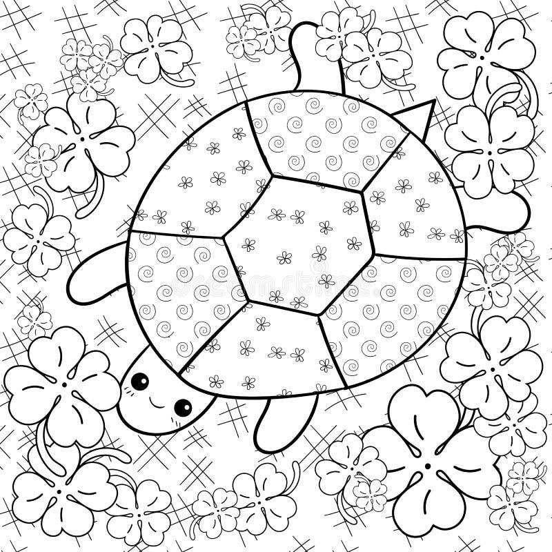 Страница книжка-раскраски рая черепахи взрослая Черепаха в странице расцветки сада клевера иллюстрация штока