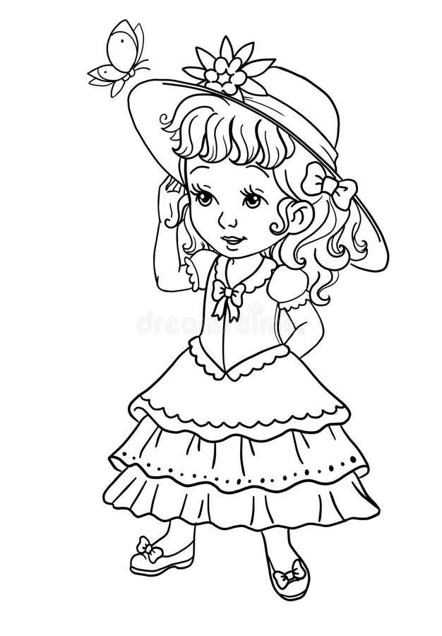 страница книжка-раскраски с маленьким ребёнком в шляпе лета и милом платье бесплатная иллюстрация