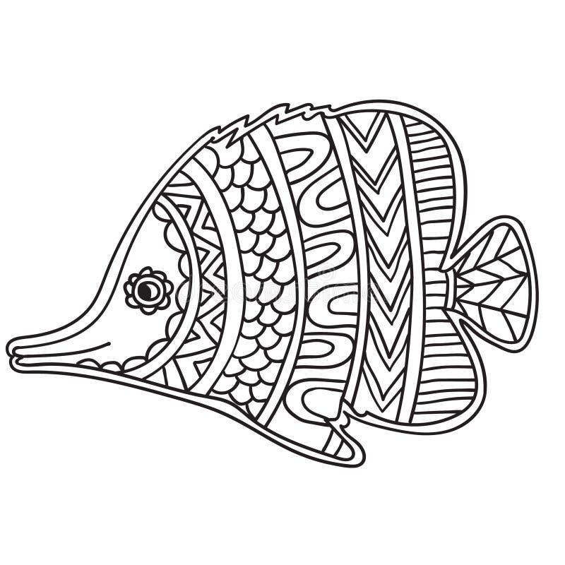 Страница книжка-раскраски для взрослых и дето- zendala, дизайн для ослабляют и раздумье Приветствовать красивую карточку с рыбами иллюстрация штока