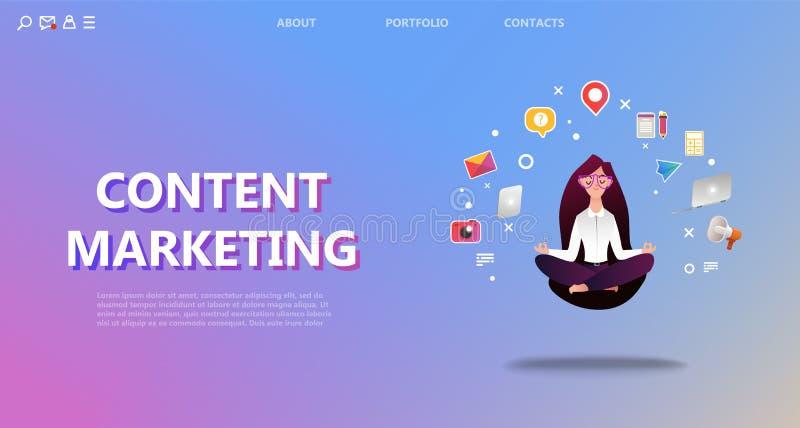 Страница маркетинга содержания приземляясь бесплатная иллюстрация