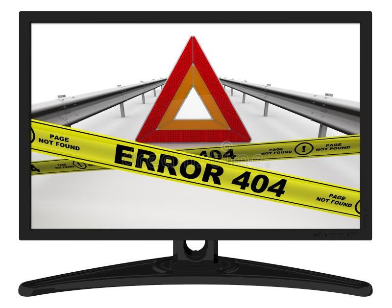 Страница ОШИБКИ 404 не нашла Сообщение в мониторе иллюстрация штока